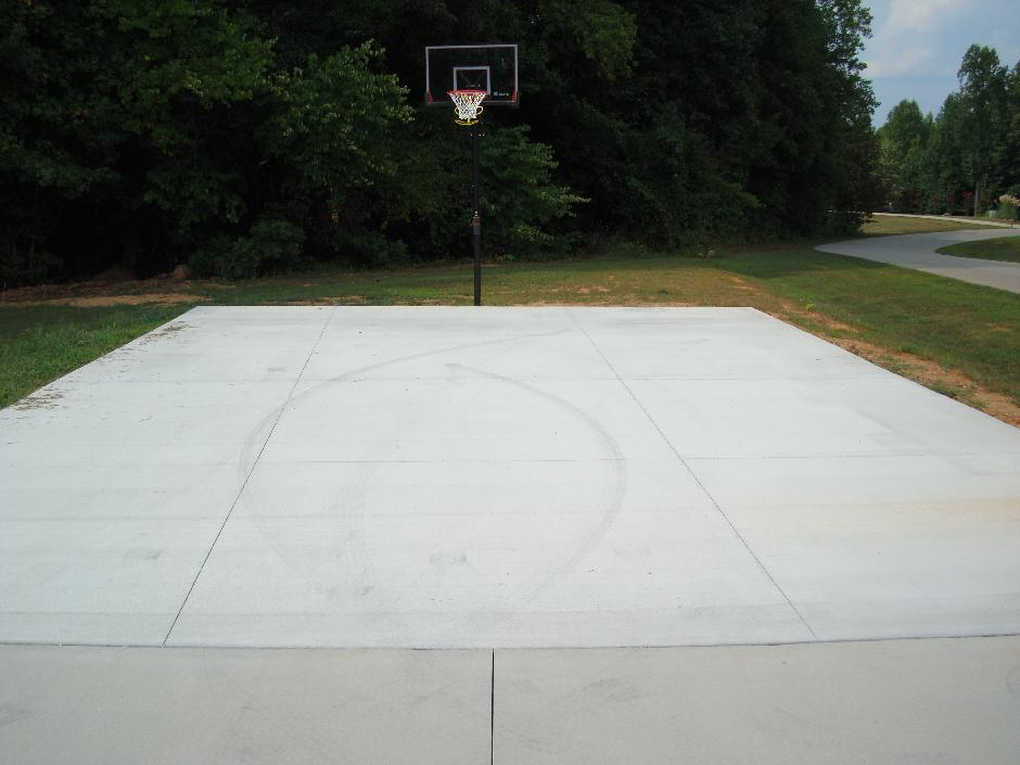 Concrete basketball court super flat for Residential basketball court cost