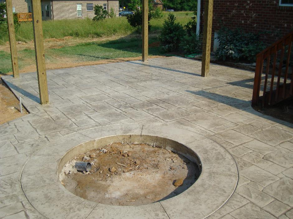 Sun Buff Stamped Concrete Patio w/ Fire Pit