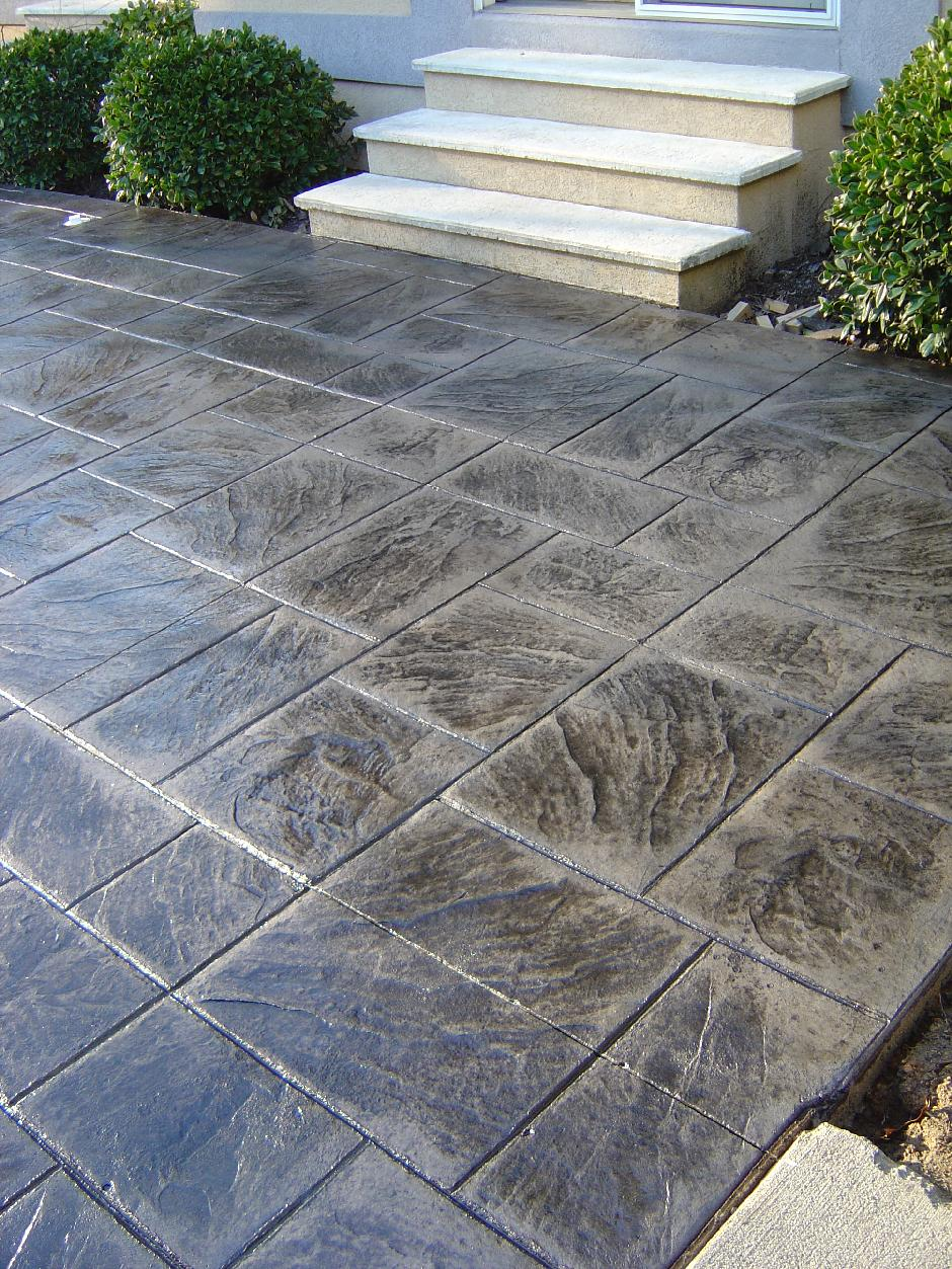 stamped patio and belgard paver installation