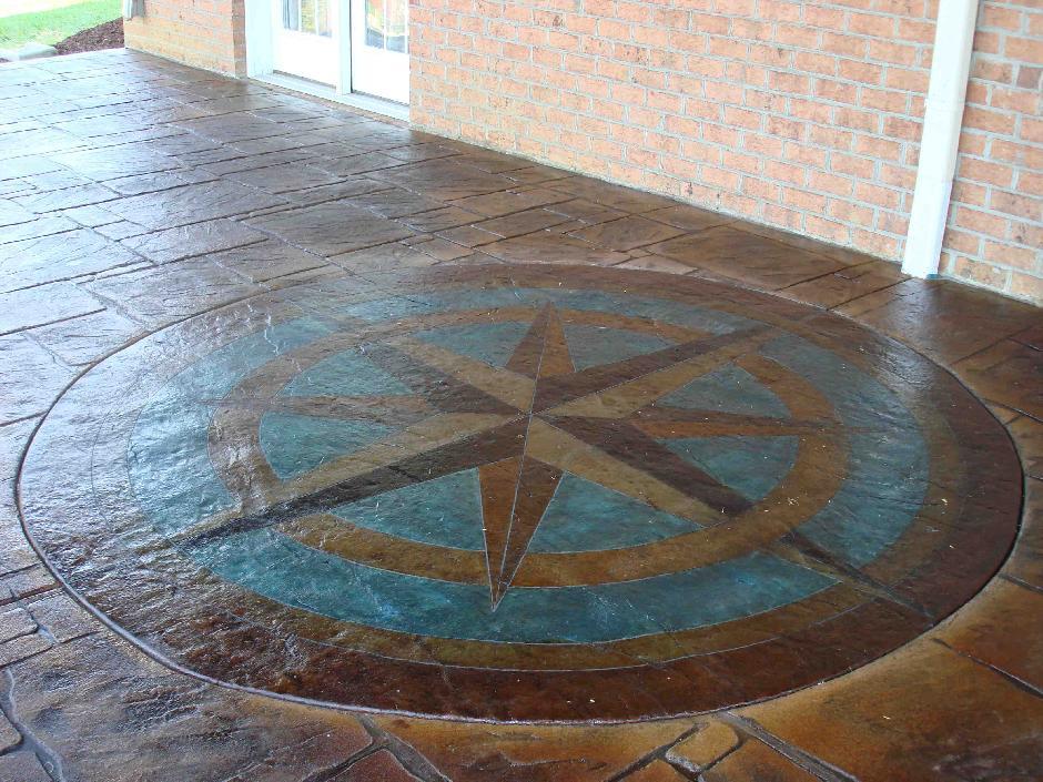Custom Compass Rose Stamped Concrete Patio